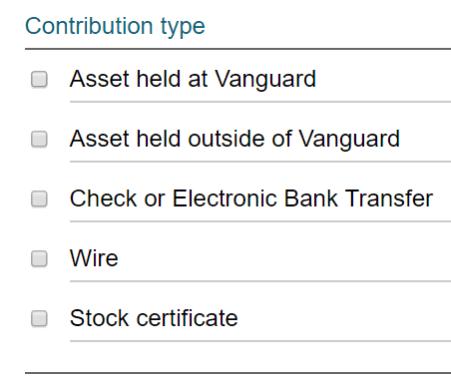 Vanguard Charitable Contribution