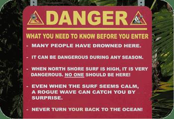 Queens Bath Kauai danger