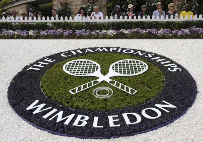 A Wimbledon logo is seen inside the grounds at the Wimbledon tennis championships in London