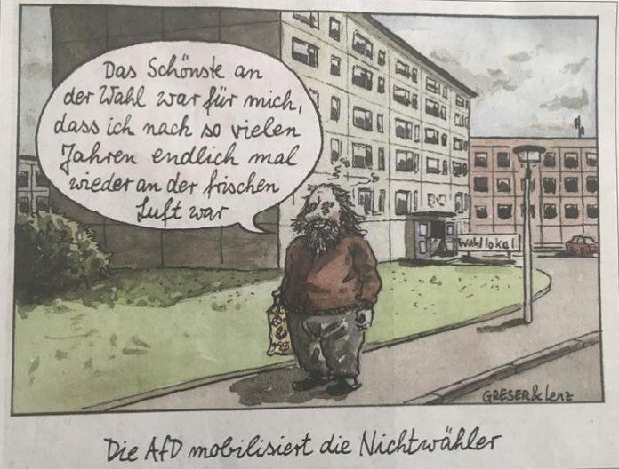 AfD-Wähler als abgehalfterter Plattenbaubewohner - FAZ-Karikatur vom 4.9.2019 auf S. 4.