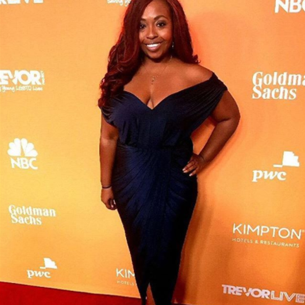 Meagan Sargent presented at the trevor project in our carla dress in navy