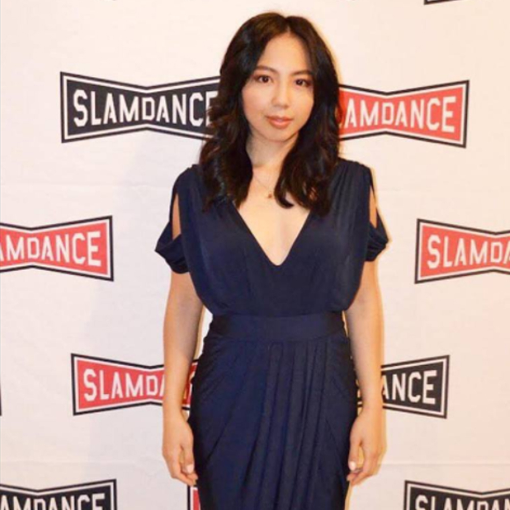 Producer and actress Melanie Padernal wearing our dionne dress for slamdance film festival