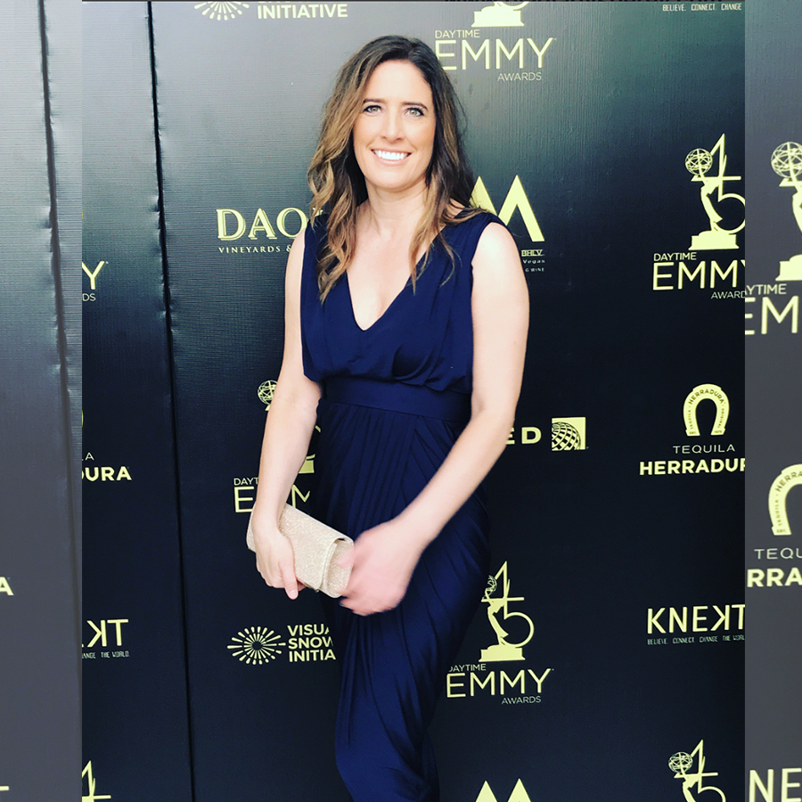 Jennifer Lavin wearing PGP carla dress on the red carpet of the daytime emmys