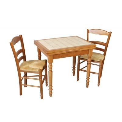 table rustique de cuisine pieds tournes carrelee avec tiroir et allonge