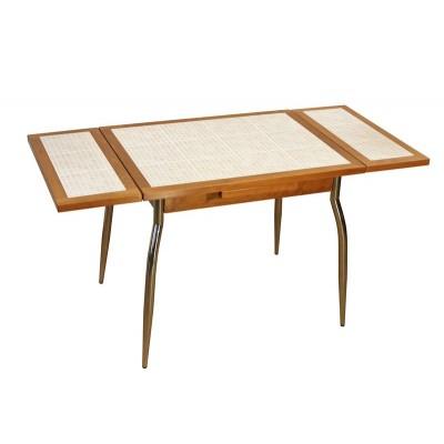 table contemporaine de cuisine en bois avec ceramique avec allonges