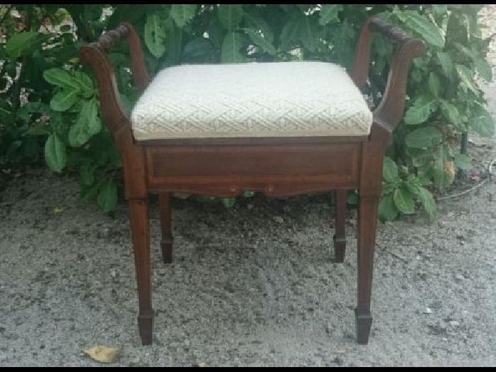 Magnifique Tabouret Chaise De Piano Ancien En Bois