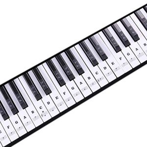 1Buy Nouveau Clavier de Musique Transparent Piano Stickers 88/61/54/49 Nice Key Amovible Laminted Black