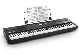 Alesis Recital PRO – Piano Numérique/Clavier avec 88 Touches à Mécanique de Marteau, 12 Voix Premium, Enceintes Intégrées de 20 W, Sortie pour Casque Audio et Fonctionnalités Pédagogiques Efficaces