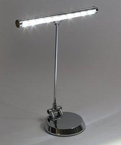 Alneo Light Sunlight Lampe de Piano / Lampe de Bureau LED avec 10 Power LED – Batterie, fonctionnement USB or sur secteur – plaque de fond rigide modifiée – complètement pivotante vers l'avant (Coloris Argent brillant)