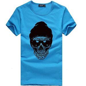 feiXIANG T-Shirt – Printemps Été, Homme Mode Casual Simple Multicolore Humour Imprimé Col Rond Tee Shirt Couleur Unie Tops à Manches Courte Slim Fit Pullover Chemisiers Blouse (Bleu,XL)