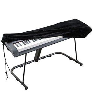 Housse de protection pour Clavier piano 61 touches, Clavier électronique Couverture anti-poussière pour Synthétiseur Piano numérique Yamaha Alesis Casio Roland – Velours extensible Noir
