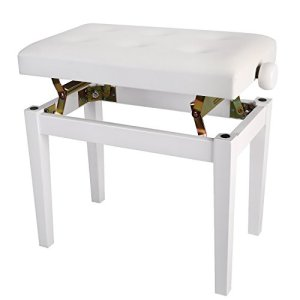 Neewer Banc de Piano et Clavier Tabouret Rembouré, Hauteur de 48-58 centimètres, Coussin Epais et Lisse en PU Confort de Luxe (Blanc)