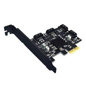 ROKOO Carte d'adaptateur de contrôleur d'extension SATA III 6G 4 Ports PCI-E vers SATA 3.0