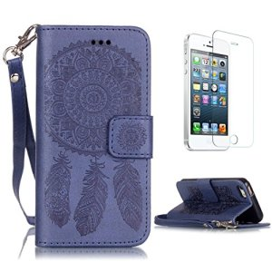 CaseHome for iPhone SE/5S/5 Coque en Cuir Motif Livre Stylé Folio Flip Portefeuille Pochette Désign Protecteur Prime PU Cuir Etuis Housse for Apple iPhone SE/5S/5-Bleu