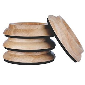 KingPoint, lot de 4 coupelles en bois dur pour roulette de piano droit, tampons de protection pour pieds de meuble Oak natural