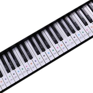 1Buy Piano Transparent Clavier Autocollant 88/61/54/49 Clé Clavier Électronique Clé Piano Stave Note Autocollant pour Touches Blanches