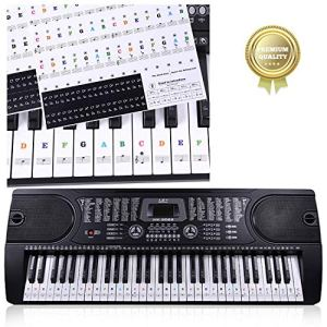 autocollant piano,Autocollants Amovibles de Piano,Autocollants de Clavier de Piano,Autocollants pour piano,partition piano debutant,pour 37/49/54/61/88 (Transparent)