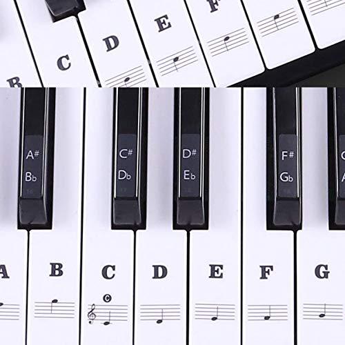 Autocollants pour piano transparent pour touches de piano Pour clavier 49/61 / 76/88 touches Noir