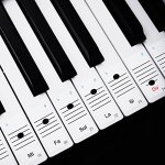 Faburo 2pcs Autocollants amovibles pour notes de piano Stickers transparents pour Clavier de piano 54,61,88 touches et 2pcs Chiffons à piano