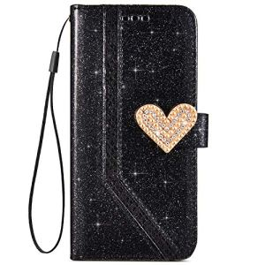 JAWSEU Compatible avec Samsung Galaxy S8 Coque PU Cuir Bling Diamant,Ultra Mince Leather Portefeuille Etui Coeur d'amour Paillette Brillant Sparkle Glitter Strass Flip Wallet Case,Noir