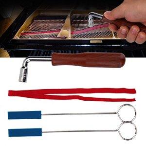 Kit d'Accordage Piano Professionnel,Piano Tuning Outils Equipement 2*Longues Mutes/2*sourdine Courte Poignée/1*Bande de Tempérament/1*Marteau