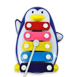 Shireystore bébé Five-tone Pingouin dent Piano musical Toys bébé Xylophone jouet (Bleu)