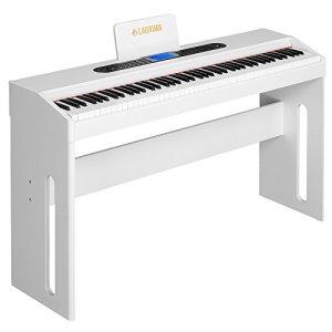 SUNCOO Clavier de piano numérique 88 touches avec pédales, adaptateur et USB / MP3 Blanc