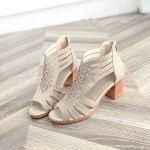 CIELLTE Chaussures Sandales à Talons Femmes à Talons Carrés Sandales Compensées Peep Toe Ete Sandales Compensées pour Femmes