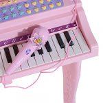Piano à Queue électronique 37 Touches Multifonctions avec Micro Haut Parleur et Tabouret Rose
