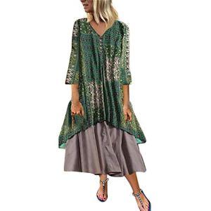 Trunlay Robe Femme Ete Chic Sexy Couture en Coton et Lin Robe Grande Taille Vintage Robe De Plage Soleil Cocktail De Soirée Robe Tunique Sundress Chemise