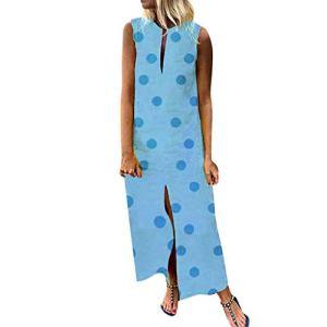 Trunlay Robe Longue Femme Ete Chic Casual Imprimé à Pois col V sans Manches Robe Grande Taille Vintage Robe De Plage Soleil Cocktail De Soirée Robe Tunique Sundress Chemise