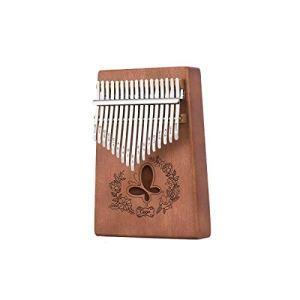 Guyuexuan Piano Kalimba 17 touches, Acajou pur, Beau ton, Facile à transporter, Facile à apprendre, Couleur du bois/Rose, Son original, Nouveautés Excellent matériel (Color : Dark brown)