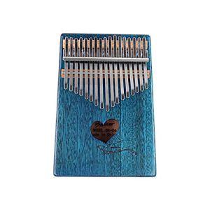 Guyuexuan Piano Kalimba 17 touches, Acajou pur, Beau ton, Facile à transporter, Facile à apprendre, Motif en forme de coeur bleu-brun, Son original, Nouveautés Excellent matériel (Color : Blue)