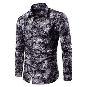 Mode Homme Chemise Fleur Imprimé Casual Long Sleeves Blouse Col De Stand Automne-Hiver Funky Shirt Tops Kabeloring