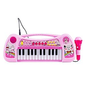 HYZH Clavier et Piano pour Enfants 25 Touches avec Microphone Instrument de Musique Clavier Instrument de Musique pour Enfants et Les DšŠbutants-Rose