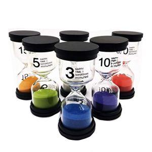 LomsarshMinuterie de sable, minuterie de sablier 6 couleurs 1 min / 3 min / 5 min / 10 min / 15 min / 30 min, pour minuterie de cuisine et compteur d'heures d'étude du temps