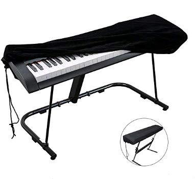 FOGAWA HoussedePiano Clavier 88Touches CouverturedePiano Anti-Poussière Noire Housse de Protection Extensible pour Synthétiseur et Piano Electronique Yamaha Roland Casio Alesis