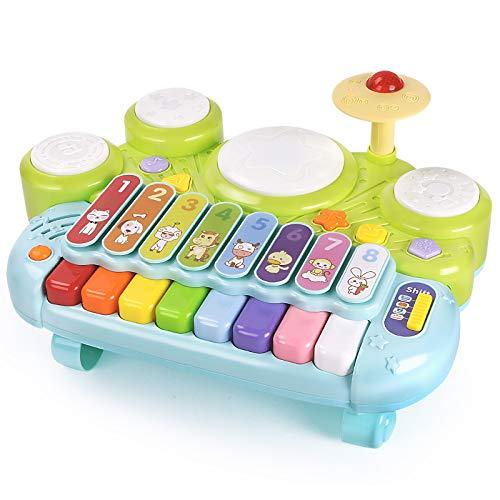 ZSQSQ 3 en 1 Instruments de Musique Jouets Tambour Jouet Musical, Clavier de Piano électronique Xylophone Drum Set – Jouets d'apprentissage avec des lumières pour bébés et Tout-Petits 1 2 3