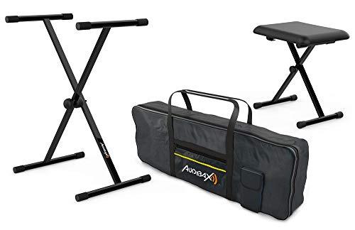 Audibax Onyx Pack de Support Clavier/Piano + Banquette + étui Clavier 61 Touches