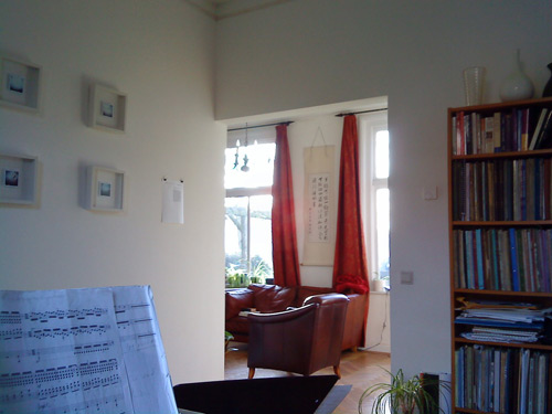 The view into the reception and winter light from my piano