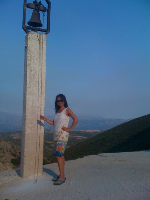 Anne Ku next to church above Paleochora, Crete