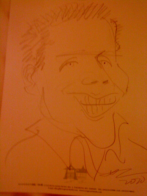 Pencil caricature of Robert Bekkers by Frances Ku, April 2010