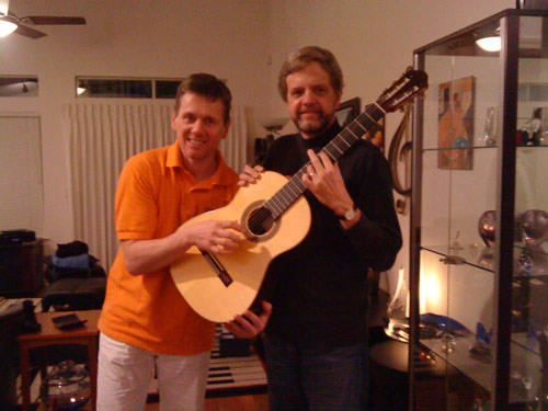 Two guitarists showing off in California