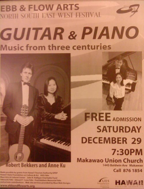 Bekkers Piano Guitar Duo concert at Makawao Union Church, December 2007