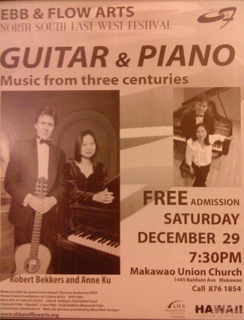 Bekkers Piano Guitar Duo concert at Makawao Union Church, December 2007