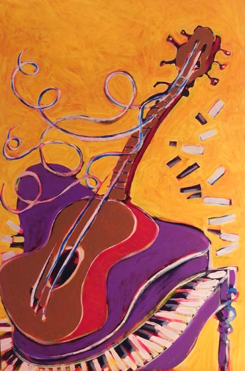 Piano and Guitar in acryllic by Rob Judkins (2011)