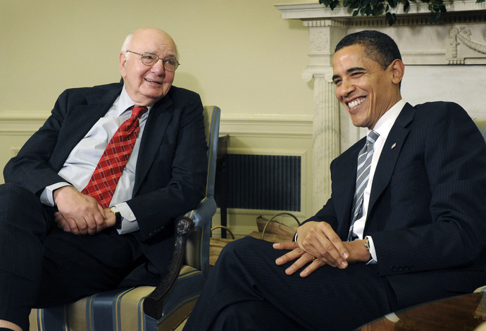 Mar. 13, 2009 slug: na-volker assignment: 206992 Location: Oval Office Thhe White House Summary: Paul Volker meets with President Obama Photographer: Gerald Martineau Caption: (left) Paul Volker, former Federal Reserve Chairman and now chair of President Obama's Economic Recovery Advisory Board meets with President Barack Obama in the Oval Office of The White House. StaffPhoto imported to Merlin on Fri Mar 13 13:57:01 2009