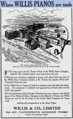 Willis piano ad stitched gazette nov 25 1912