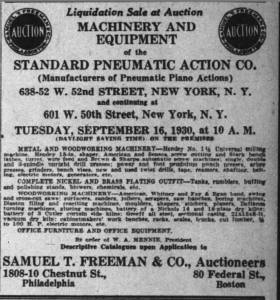 Advertisement for Standard liquidation auction