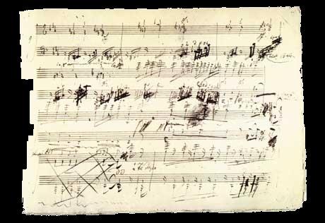 manuscrito original de una partitura de Beethoven